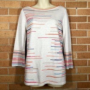 J Jill Small Striped Sweater Lightweight